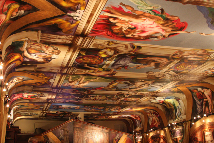 9. A graffiti artist named Paco Rosic bought an abandoned warehouse in Waterloo and recreated Michelangelo's Sistine Chapel ceiling. Then he turned the place into a restaurant, which you can now go eat at.