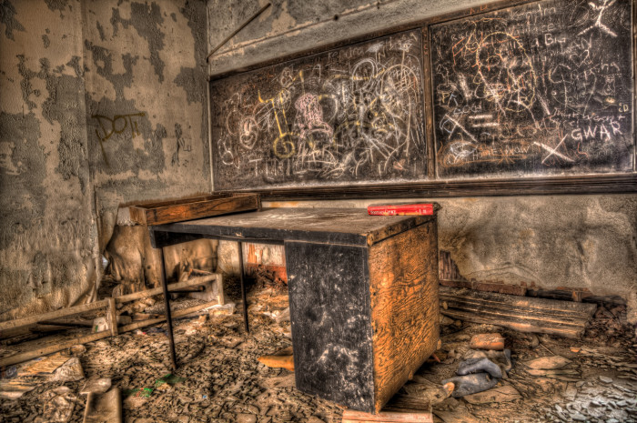 1. Here is a creepy looking abandoned classroom in a church in Gary!