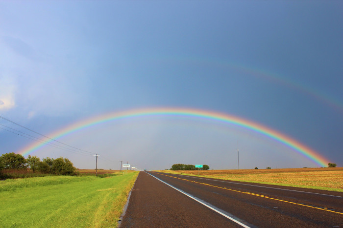3) What a gorgeous August rainbow right over Highway 84!
