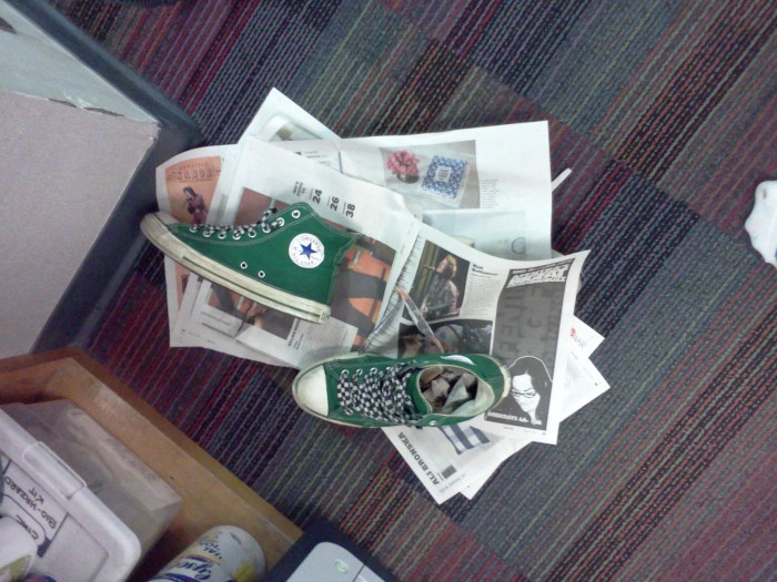 1. Don't you hate when it's raining and the insides of your shoes get all wet? Try stuffing them full of newspaper - it can help dry them out immensely!