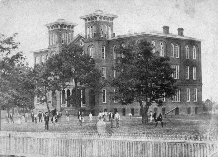 8. The building featured in this historic photo was once the original building of the East Alabama Male College, which is now Auburn University. It was originally used for classrooms and the library. The building also served as a Confederate Hospital from 1864-1866 during the Civil War. This photo was taken in 1883.