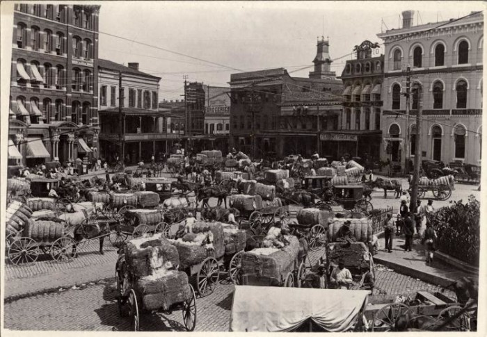 3. Cotton is being brought to market in Montgomery, Alabama, circa 1900.