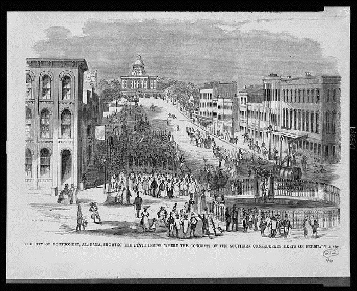 "14. The city of Montgomery, Alabama is showing the state house where the ""Congress of the Southern Confederacy"" meets on February 4, 1861."