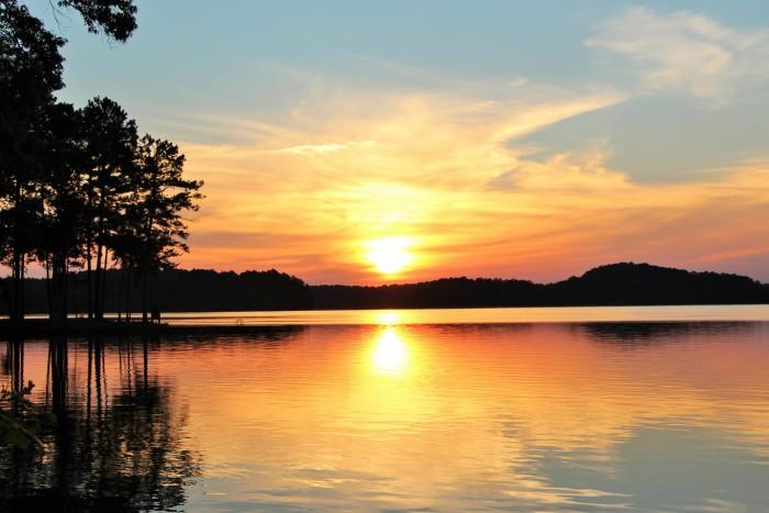 20. A tranquil sunrise on Lake Wedowee in Randolph County, Alabama.