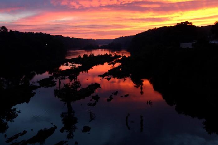 12. A mesmerizing sunrise over Wetumpka Bridge in Wetumpka, Alabama.