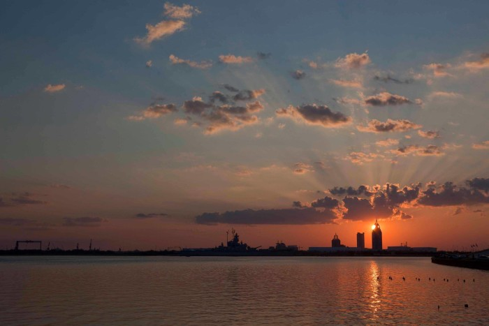 20. A fantastic sunset view of Mobile from the causeway.
