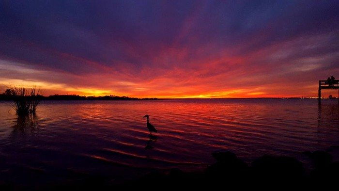 8. A colorful sunset overlooking the Mobile Bay at Bay Front Park in Daphne, Alabama.