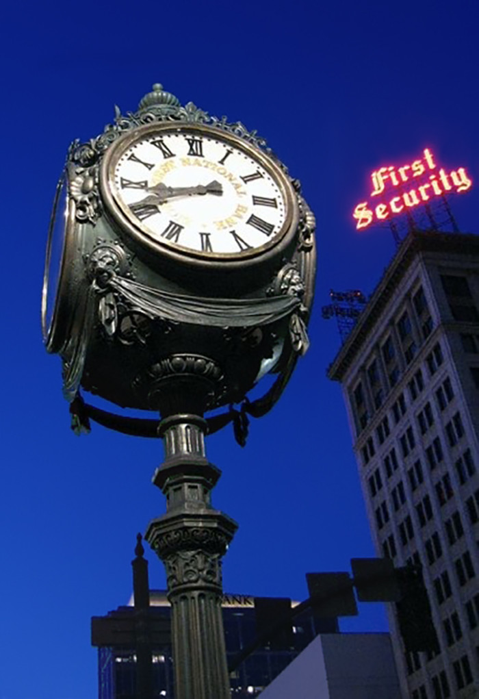 """21. Amy Dasilva took this cool photo of the """"Old Clock at Zion's First National Bank"""" which is located in downtown Salt Lake City and is on the National Register of Historic Places."""