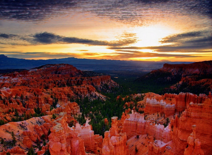 7. As the sun rises over Bryce Canyon, the red rock takes on a rich, deep color.