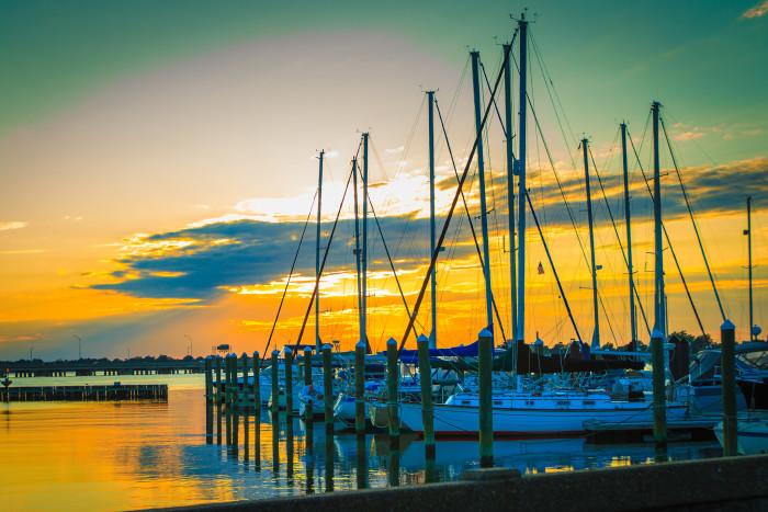 7. The Chesapeake Bay goes gold and blue at a Phoebus marina.