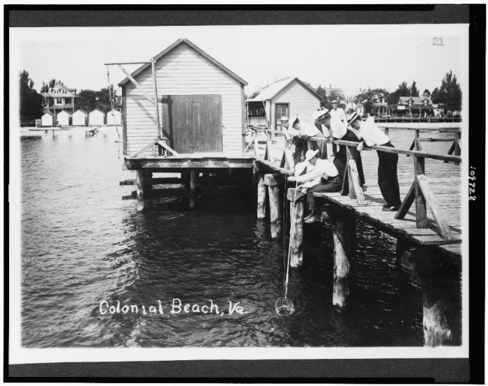 8. Men crabbing from the pier in Colonial Beach, c.1909.