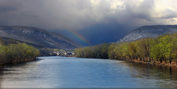 7. A rainbow over the mountains at the Delaware Water Gap.
