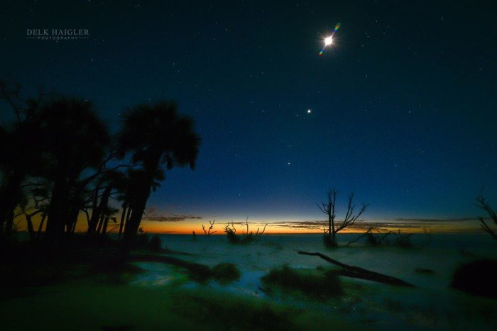 """11. """"First Light"""" shot by Delk Haigler. He has captured something that may not be seen again for many, many years. The Moon, Venus, and Jupiter all together."""