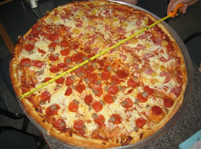 """But before you go…why not try a 28"""" pizza, as well?"""