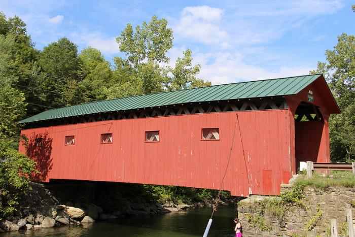 6.  Historic 1852 Arlington Green Covered Bridge over Batten Kill in Arlington.
