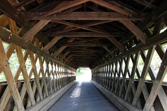 8.  Historic Chiselville Covered Bridge over Roaring Branch Brook in Sunderland.