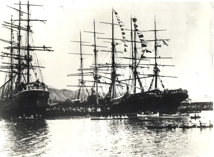 7) This photograph of Honolulu Harbor was taken in 1900.