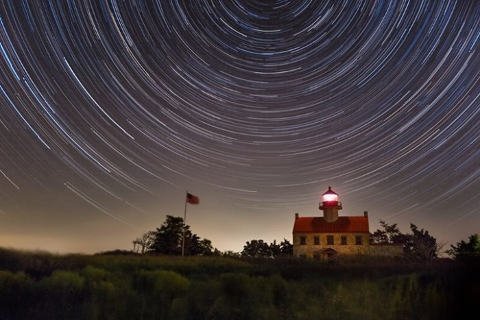 1. 300 shots of East Point Lighthouse are combined into one.