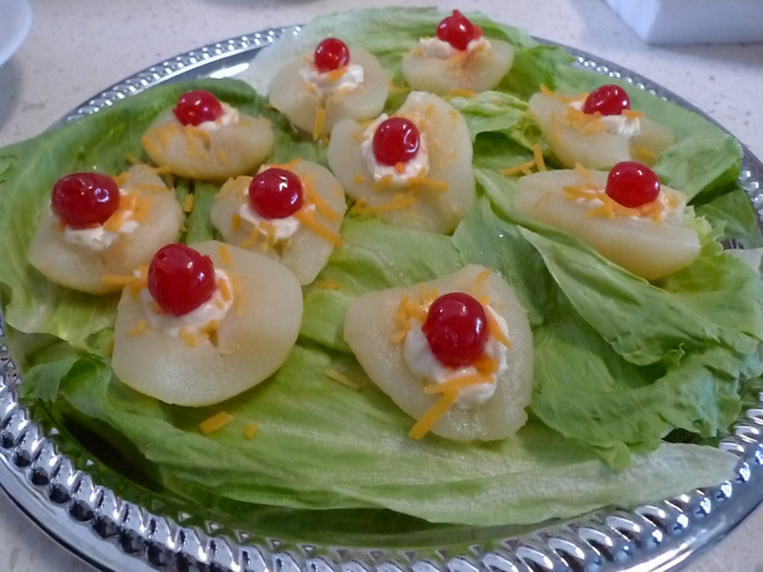 3. Pear salad with a cherry