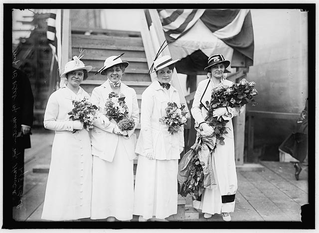13. Miss Elizabeth Kolb (at the right) of Philadelphia served as a sponsor at the launching of the U.S.S. Pennsylvania in Newport News, March 1915.