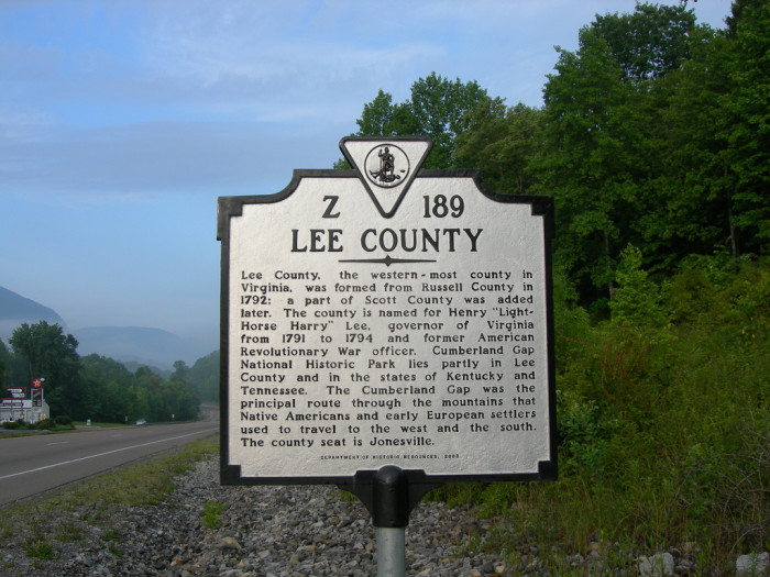 Lee County sign