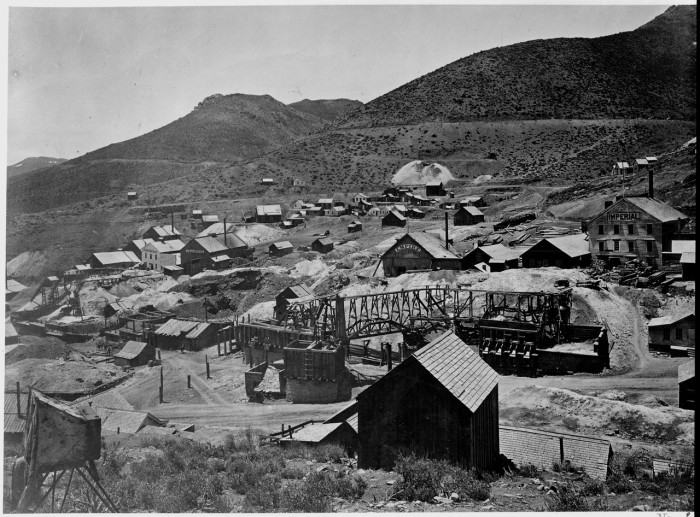 9. This historic photo of Gold Hill, Nevada was captured around the year 1867.