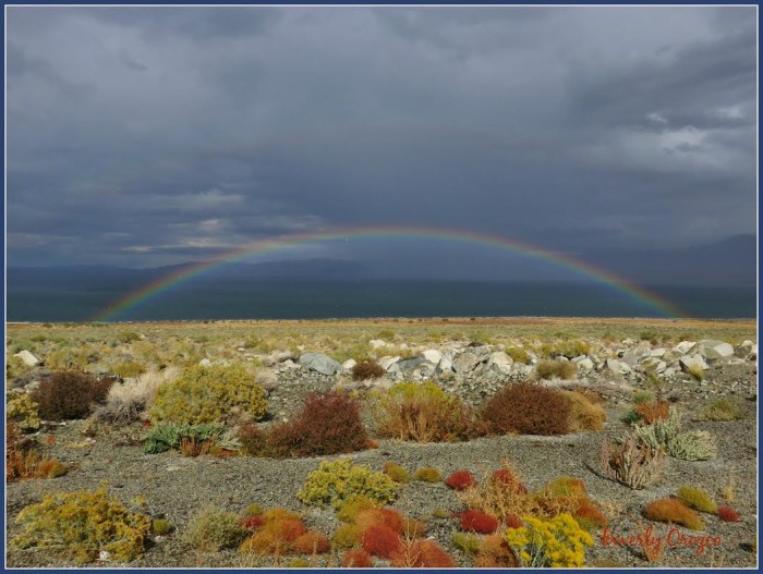 2. A magical double rainbow over Walker Lake. You have to look closely to see the second rainbow.