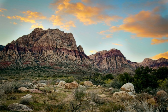 2. A beautiful sunset view near Spring Mountain Ranch.