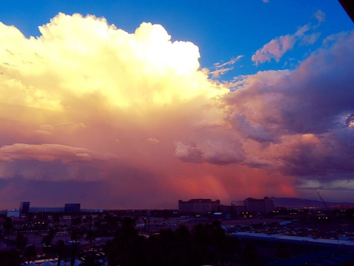 9. A spectacular summer thunderstorm over Boulder City, Nevada.