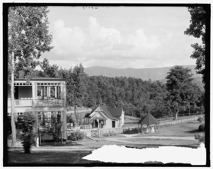 17. The Blue Ridge Mountains behind the Natural Bridge Hotel and the Natural Bridge Hotel swimming pool, c. 1900-1915.