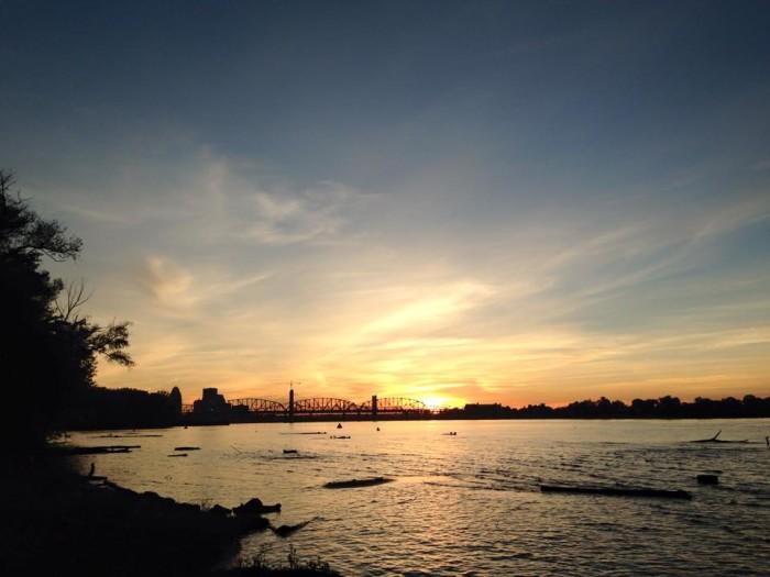 7. October sunset on the Ohio via C.J. Phillips.