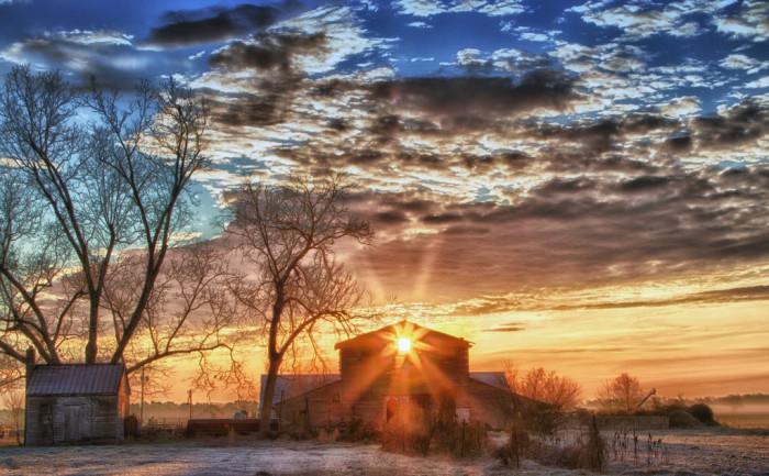 11. An old barn at sunrise in Chesapeake.