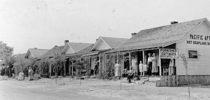 8. This was a hotel known as The Pacific Apartments on the shores of Soap Lake, taken in 1928!
