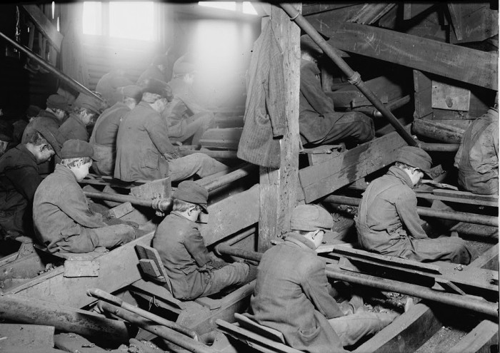 This is a sight you definitely won't find these days! A group of breaker boys sorts coal in a South Pittston coal breaker in 1911.