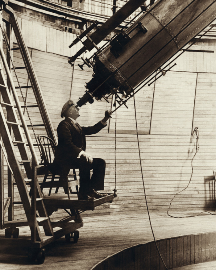 4. Here is famed astronomer Percival Lowell in his observatory in 1914.