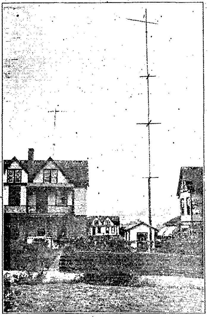 This is a drawing of a League Radio Station in York from the year 1916. The transmission poles are each 60 feet high.