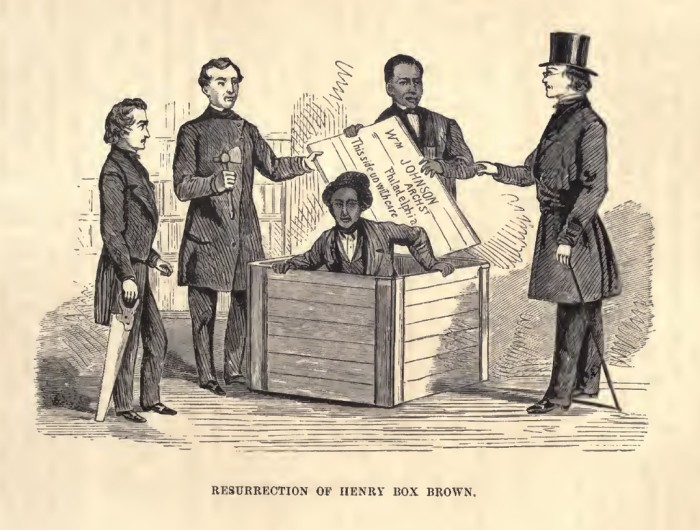 """1. In 1849, Henry """"Box"""" Brown, a 33-year old slave, escaped to freedom by having himself shipped in a wooden crate to abolitionists in Philadelphia."""