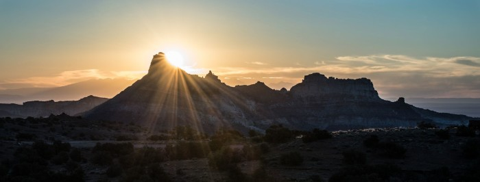 14. This photo of the sun rising over Temple Mountain at the San Rafael Swell was submitted by Richard Tilton.