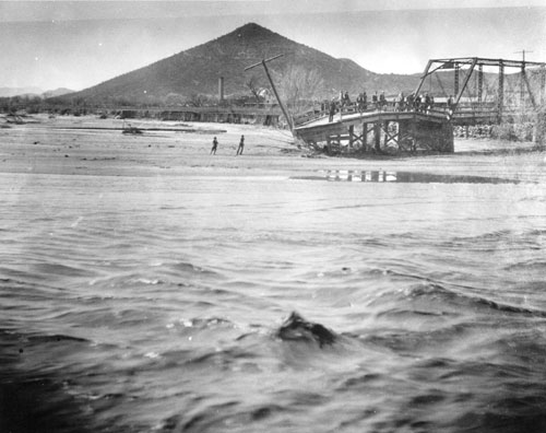"5. In 1915, the Santa Cruz River flooded and caused enough damage to wreck this bridge near ""A"" Mountain."