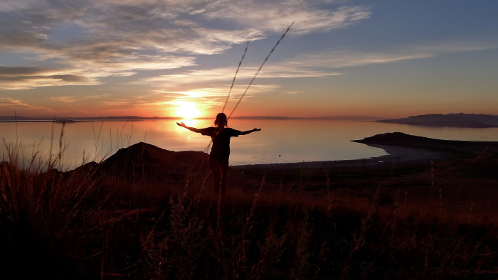 14. This is a self-portrait taken at dusk on the Great Salt Lake