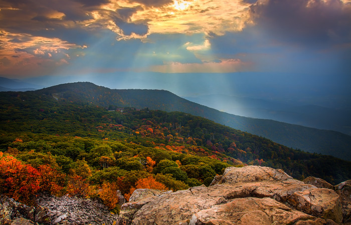 15. A sunset view from Stony Man on the Skyline Drive.