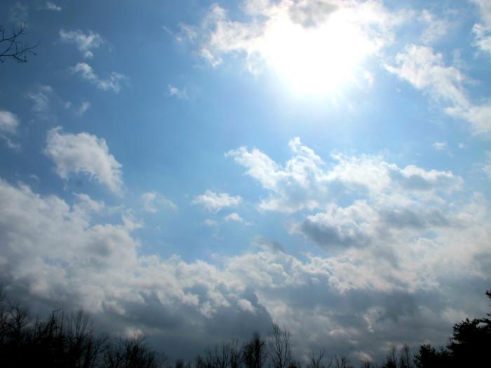 9. Sun bursting through the clouds.