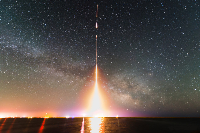 13. Time-lapse of a NASA rocket launch at Wallop's Island.