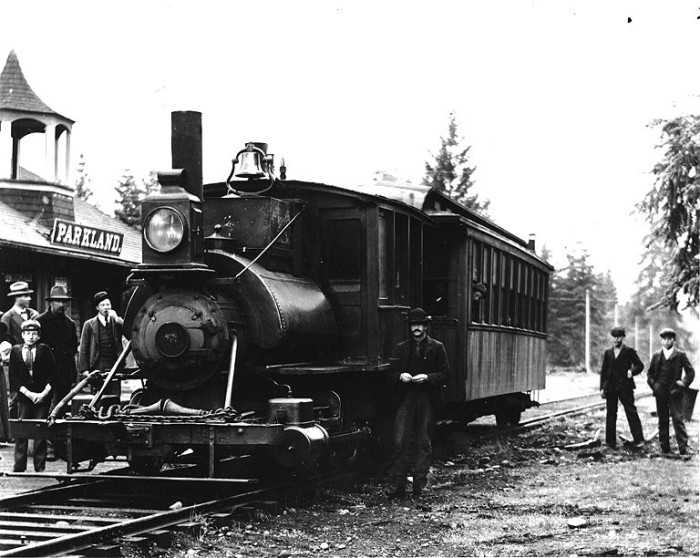 12. Hopping on board the train at the Parkland Station in 1908!
