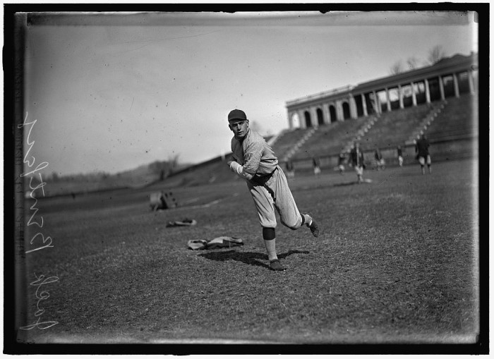 10. Jack Bentley from the Washington American League (now the Washington Nationals) throws a pitch at the University of Virginia, 1915.