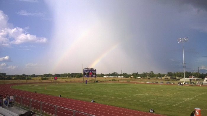 1) Look at this stunning double rainbow captured by Bernie Reyes in Weimar, Texas at an 8th grade football game! Wow!
