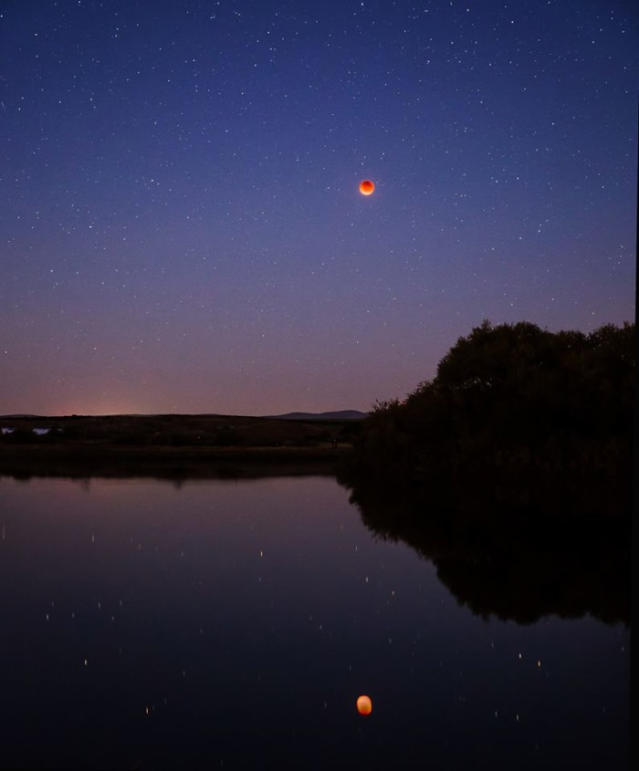 6. The recent Blood Moon, taken from Ellensburg's Fiorito Pond just east off I-84.