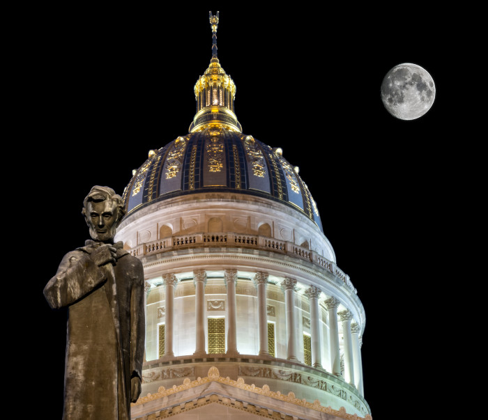 4. The state Capitol with Abraham Lincoln and a huge moon.