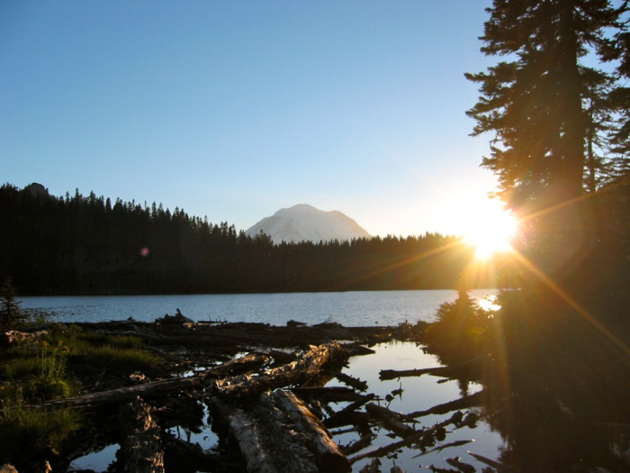 1. An amazing sunset captured at Dewey Lake by Mount Rainier.