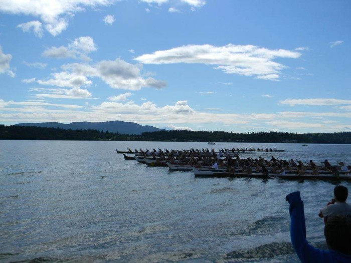 6. This awesome pic of an 11-man canoe race by Lummi Island comes to us from Cin Roberts!